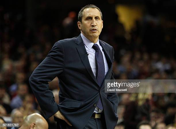 Cleveland Cavaliers head coach David Blatt watches from the sideline against the Oklahoma City Thunder during the second half of their game on...