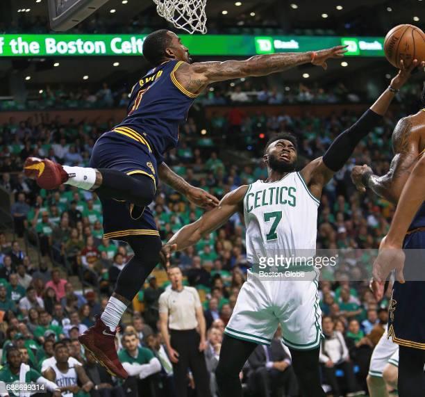 Cleveland Cavaliers JR Smith defends under the basket against Boston Celtics Jaylen Brown The Boston Celtics hosted the Cleveland Cavaliers for Game...