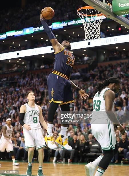 Cleveland Cavaliers' LeBron James slam dunks on the Boston Celtics during the fourth quarter The Boston Celtics host the Cleveland Cavaliers at TD...