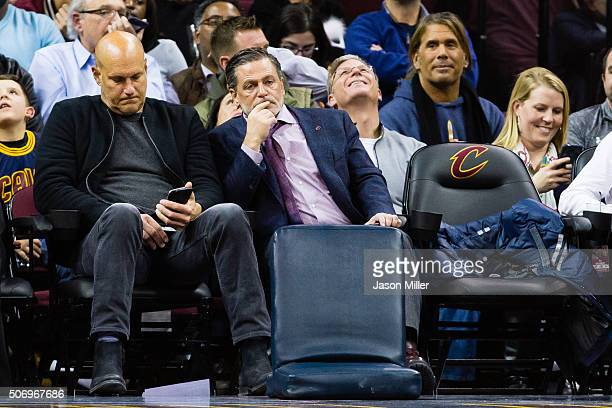 Cleveland Cavaliers majority owner Dan Gilbert center reacts from the stands during the second half against the Golden State Warriors at Quicken...