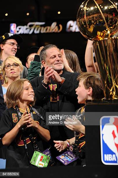 Cleveland Cavaliers owner Dan Gilbert celebrates after winning Game Seven of the 2016 NBA Finals against the Golden State Warriors on June 19 2016 at...