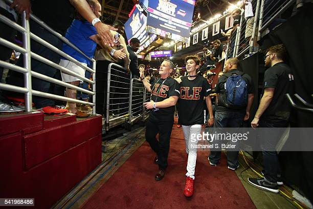 Cleveland Cavaliers owner Dan Gilbert leaves the court after the game against the Golden State Warriors during Game Six of the 2016 NBA Finals on...