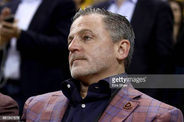 Cleveland Cavaliers owner Dan Gilbert looks on during Game 1 of the 2017 NBA Finals at ORACLE Arena on June 1 2017 in Oakland California NOTE TO USER...