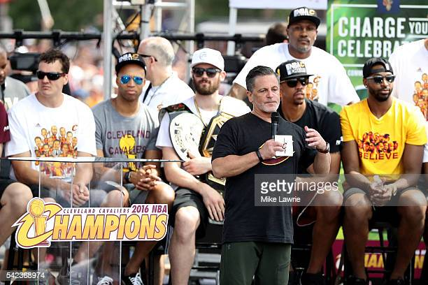 Cleveland Cavaliers owner Dan Gilbert speaks onstage during the Cleveland Cavaliers 2016 NBA Championship victory parade and rally on June 22 2016 in...
