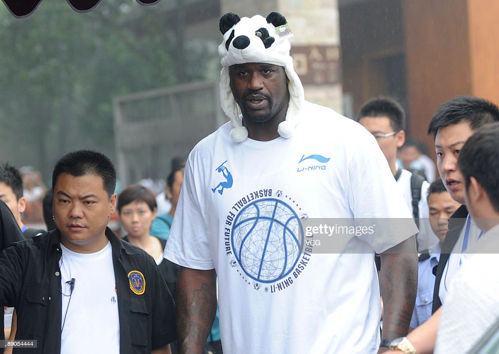 NBA Cleveland Cavaliers player Shaquille O'Neal visits the pandas on July 16, 2009 in Chengdu of Sichuan Province, China.