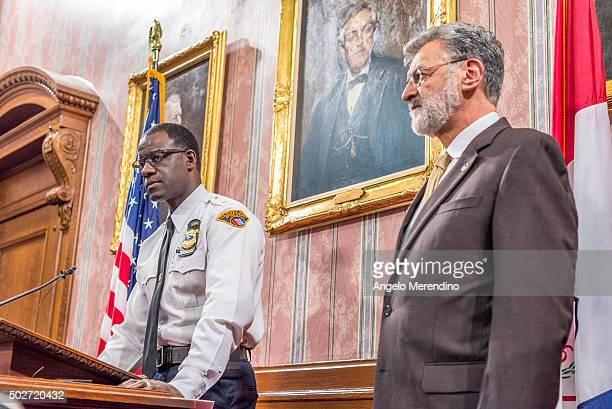 Cleveland Chief of Police Calvin Williams speaks to reporters in the Mayor's Conference Room at City Hall on Decmeber 28 2015 in Cleveland Ohio...