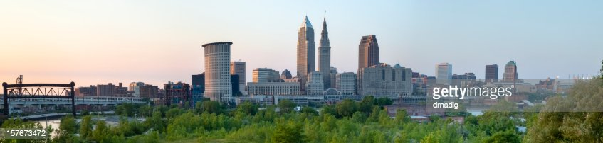 Cleveland Cityscape over Cuyahoga River Panorama