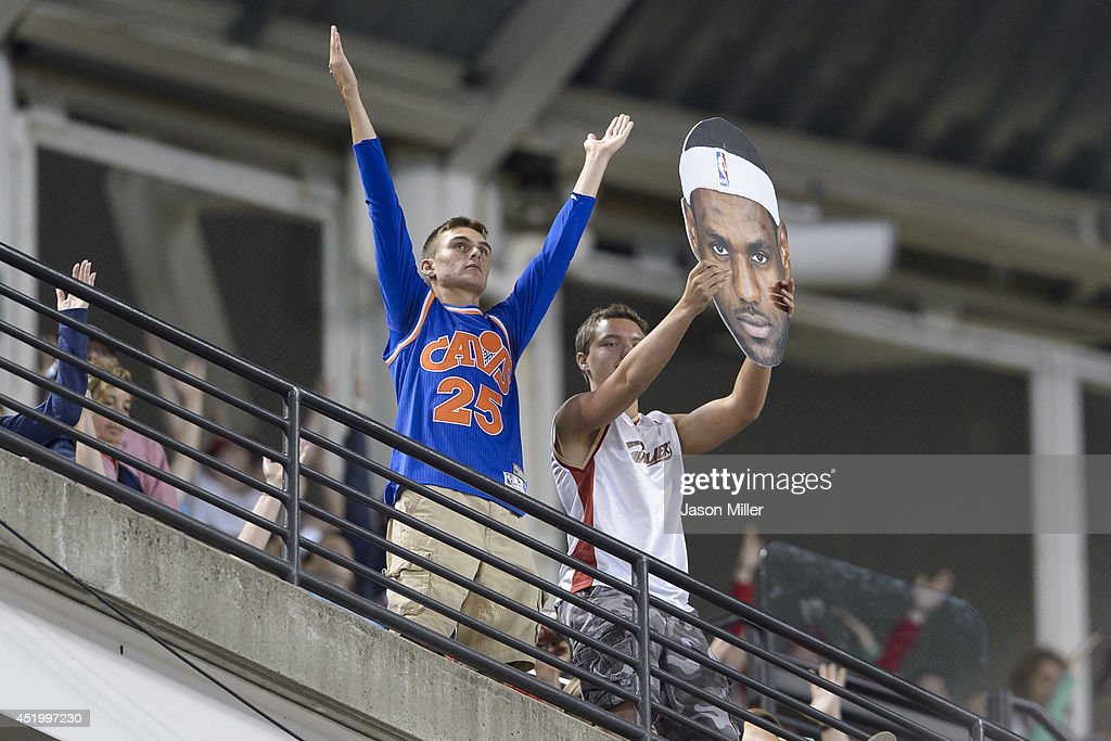 Cleveland fans show their support for Lebron James during the eighth inning of the game between the Cleveland Indians and the New York Yankees at Progressive Field on July 10, 2014 in Cleveland, Ohio.