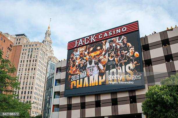 Cleveland fans wait in a parking garage at the Jack Casino prior to the start of the Cleveland Cavaliers 2016 NBA Championship victory parade and...