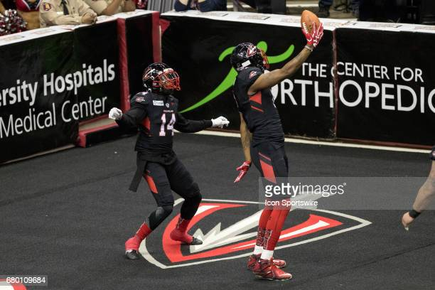 Cleveland Gladiators WR Brandon Thompkins and Cleveland Gladiators WR Larry Brackins celebrate in the end zone after Thompkins scored on a 7yard...