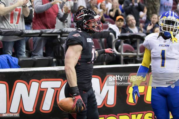 Cleveland Gladiators WR Collin Taylor in the end zone after making a touchdown catch during the second quarter of the Arena League Football game...