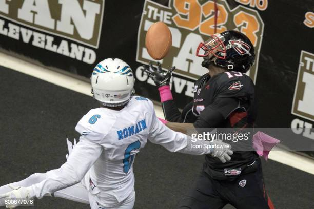 Cleveland Gladiators WR Michael Preston makes a 6yard touchdown catch as Philadelphia Soul DB James Romain defends during the third quarter of the...