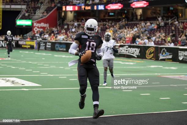 Cleveland Gladiators WR Quentin Sims crosses the goal line to score on a 39yard pass during the first quarter of the Arena League Football game...