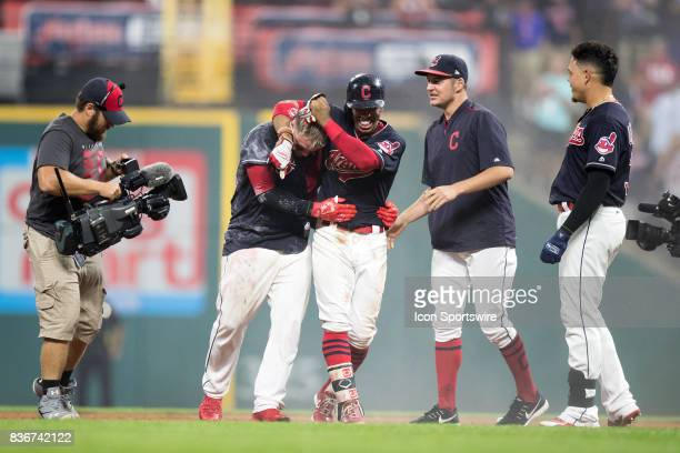 Cleveland Indians catcher Roberto Perez Cleveland Indians shortstop Francisco Lindor Cleveland Indians starting pitcher Trevor Bauer and Cleveland...