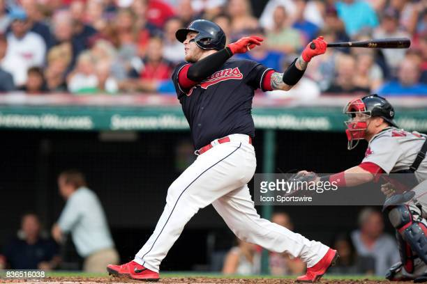 Cleveland Indians catcher Roberto Perez hits a 3run home run during the second inning of the Major League Baseball game between the Boston Red Sox...