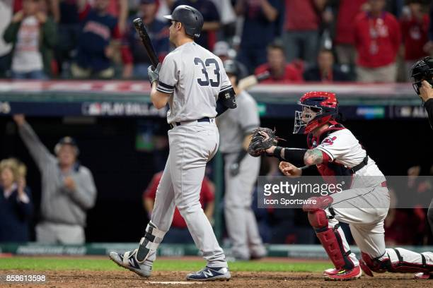 Cleveland Indians catcher Roberto Perez reaches to tag out New York Yankees first baseman Greg Bird for the final out of the 2017 American League...