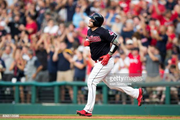 Cleveland Indians catcher Roberto Perez rounds the bases after hitting a 3run home run during the second inning of the Major League Baseball game...