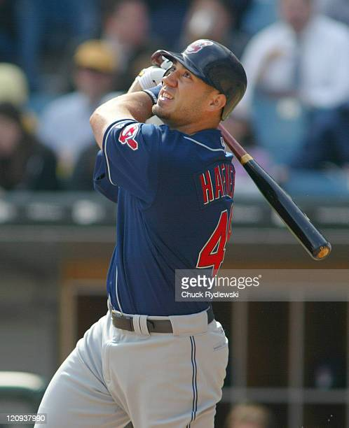 Cleveland Indians catcher Victor Martinez batting during the game against the Chicago White Sox at US Cellular Field in Chicago Illinois April 4 2005