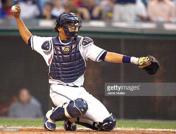 Cleveland Indians' catcher Victor Martinez during the game against the New York Yankees Monday August 23 2004 in Jacobs Field in Cleveland Ohio The...