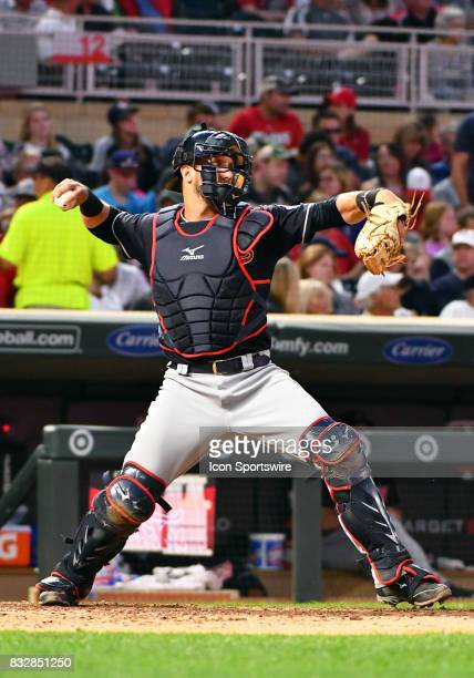 Cleveland Indians Catcher Yan Gomes throws to 2nd during a MLB game between the Minnesota Twins and Cleveland Indians on August 15 2017 at Target...