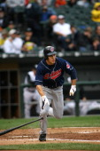 Cleveland Indians' Center Fielder Grady Sizemore hits a 6th inning triple during their game against the Chicago White Sox September 10 2006 at US...