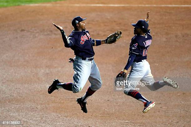 Cleveland Indians center fielder Rajai Davis and Cleveland Indians shortstop Francisco Lindor celebrate after defeating the Chicago Cubs during the...