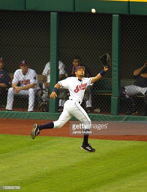Cleveland Indians' Coco Crisp chases down a fly ball in the first inning against the Chicago White Sox Wednesday July 21 in Cleveland