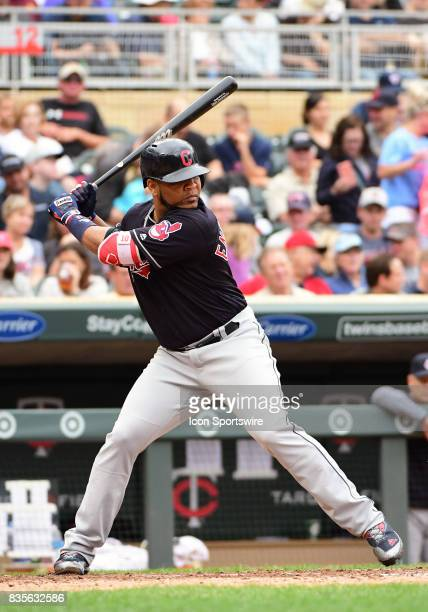 Cleveland Indians Designated hitter Edwin Encarnacion at the plate during game 1 of a MLB splitdoubleheader between the Minnesota Twins and Cleveland...
