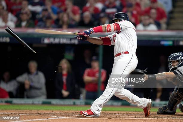 Cleveland Indians designated hitter Edwin Encarnacion breaks is bat as he grounds out during the first inning of the 2017 American League Divisional...