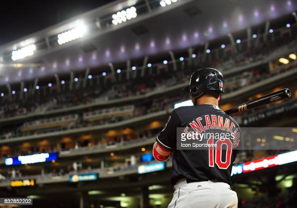 Cleveland Indians Designated hitter Edwin Encarnacion stands in the on deck circle during a MLB game between the Minnesota Twins and Cleveland...