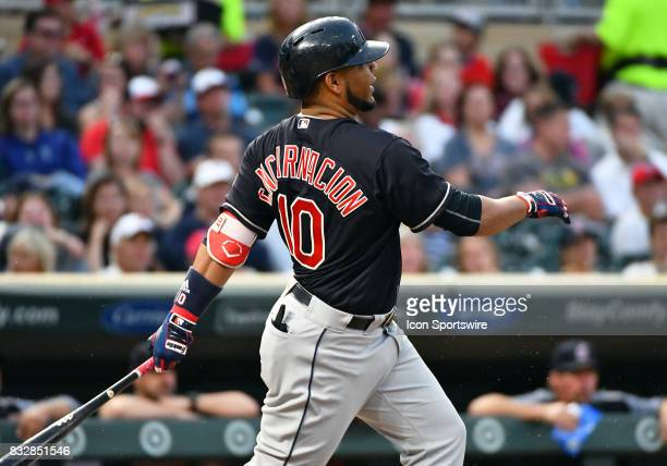 Cleveland Indians Designated hitter Edwin Encarnacion takes a swing during a MLB game between the Minnesota Twins and Cleveland Indians on August 15...