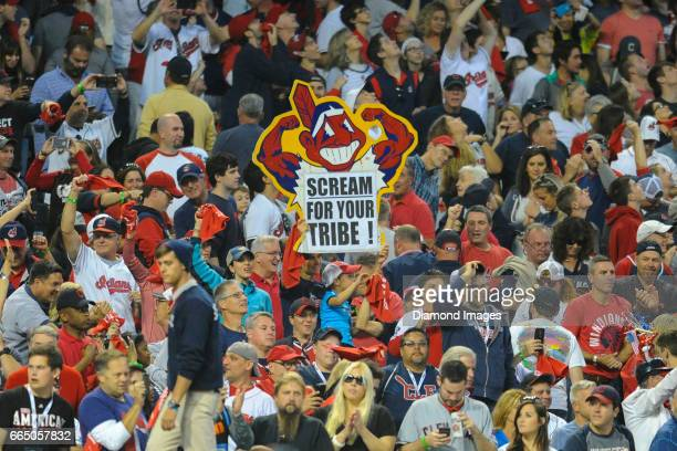 Cleveland Indians fan holds up a sign after Game 2 of the American League Championship Series against the Toronto Blue Jays on October 15 2016 at...