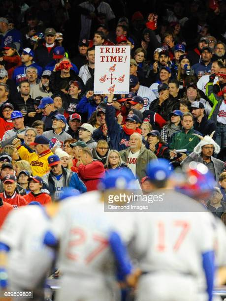 Cleveland Indians fan holds up a sign during Game 1 of the World Series on October 25 2016 against the Chicago Cubs at Progressive Field in Cleveland...