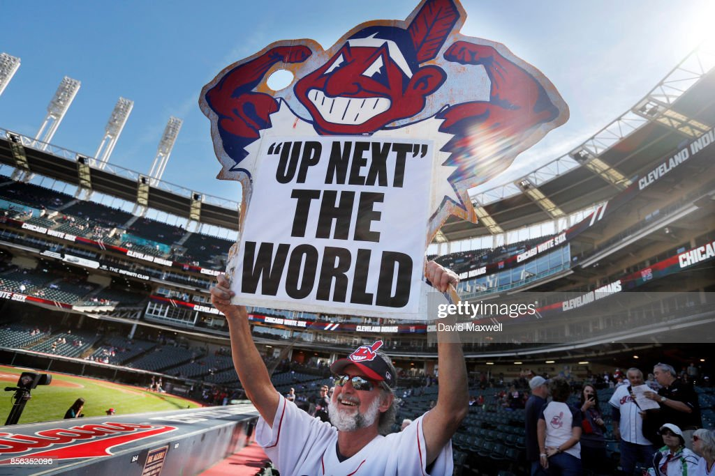 Cleveland Indians fan Jim Stamper of Cleveland, Ohio shows his support for the team before the start of the game against the Chicago White Sox at Progressive Field on October 1, 2017 in Cleveland, Ohio.