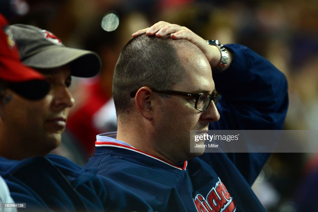 A Cleveland Indians fan reacts during the American League Wild Card game against the Tampa Bay Rays at Progressive Field on October 2, 2013 in Cleveland, Ohio.