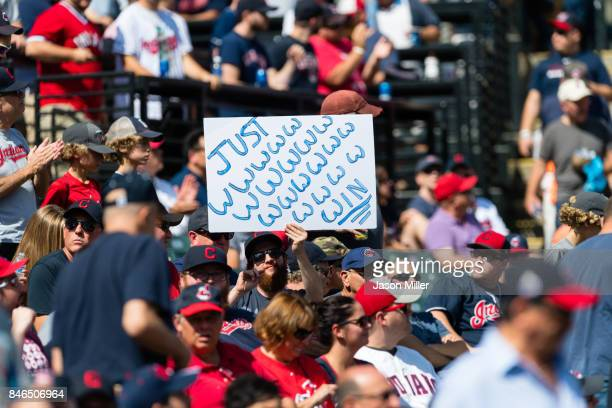 Cleveland Indians fan shows his support for the team prior to the game against the Detroit Tigers at Progressive Field on September 13 2017 in...