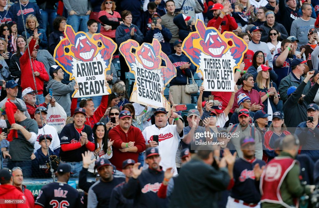 Cleveland Indians fans cheer as the team leaves the field after defeating the Chicago White Sox at Progressive Field on October 1, 2017 in Cleveland, Ohio. The Indians defeated the White Sox 3-1.