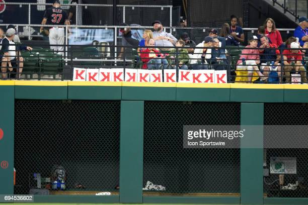 Cleveland Indians fans hang K signs on the outfield wall as Cleveland pitchers combine for 12 strikeouts during the Major League Baseball game...