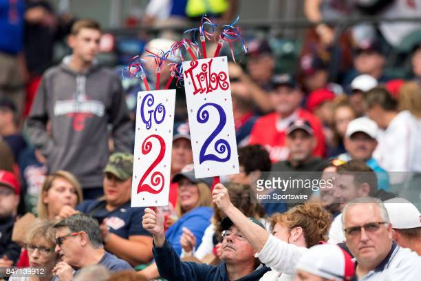 Cleveland Indians fans hold up a sign prior to the Major League Baseball game between the Kansas City Royals and Cleveland Indians on September 14 at...