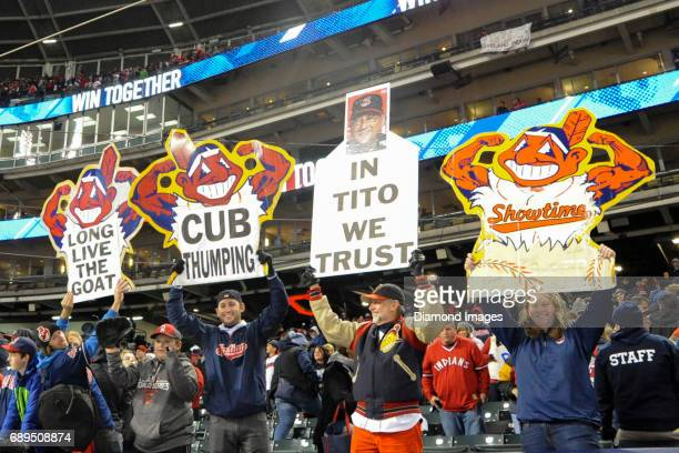 Cleveland Indians fans hold up signs prior to Game 1 of the World Series on October 25 2016 between the Chicago Cubs and Cleveland Indians at...