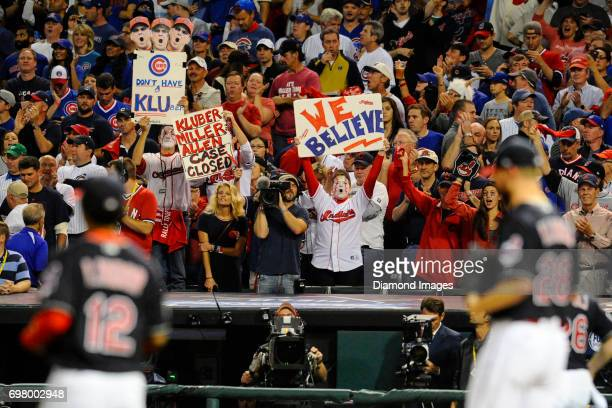 Cleveland Indians fans hold up signs prior to Game 7 of the World Series between the Chicago Cubs and Cleveland Indians on November 2 2016 at...