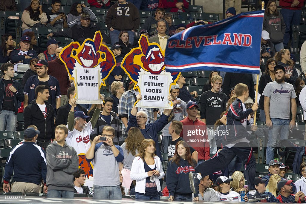 Cleveland Indians fans show their support for Interim Manager Sandy Alomar, Jr. #15 of the Cleveland Indians at Progressive Field on October 3, 2012 in Cleveland, Ohio.