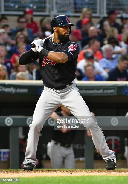 Cleveland Indians First base Carlos Santana at the plate during a MLB game between the Minnesota Twins and Cleveland Indians on August 15 2017 at...