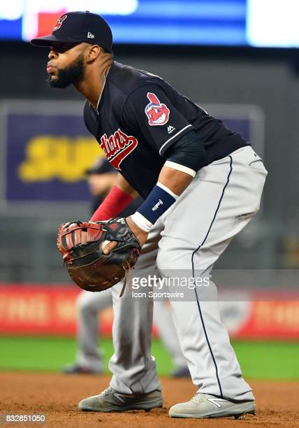 Cleveland Indians First base Carlos Santana gets into position during a MLB game between the Minnesota Twins and Cleveland Indians on August 15 2017...