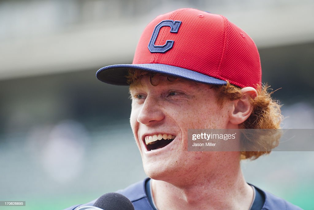 Cleveland Indians first round draft pick Clint Frazier talks to the media prior to the game against the Washington Nationals at Progressive Field on June 15, 2013 in Cleveland, Ohio.