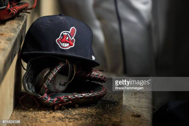Cleveland Indians hat with Chief Wahoo against the Minnesota Twins on April 17 2017 at Target Field in Minneapolis Minnesota The Indians defeated the...