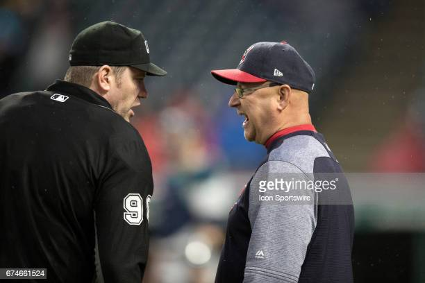 Cleveland Indians Manager Terry Francona appeals a call to home plate umpire Chris Conroy that the ball hit by Cleveland Indians Third base Jose...