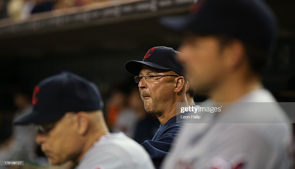 Cleveland Indians manager <a gi-track='captionPersonalityLinkClicked' href=/galleries/search?phrase=Terry+Francona&family=editorial&specificpeople=171936 ng-click='$event.stopPropagation()'>Terry Francona</a> #17 watches the action from the dugout during the game against the Detroit Tigers at Comerica Park on August 31, 2013 in Detroit, Michigan. The Tigers defeated the Indians 10-5.
