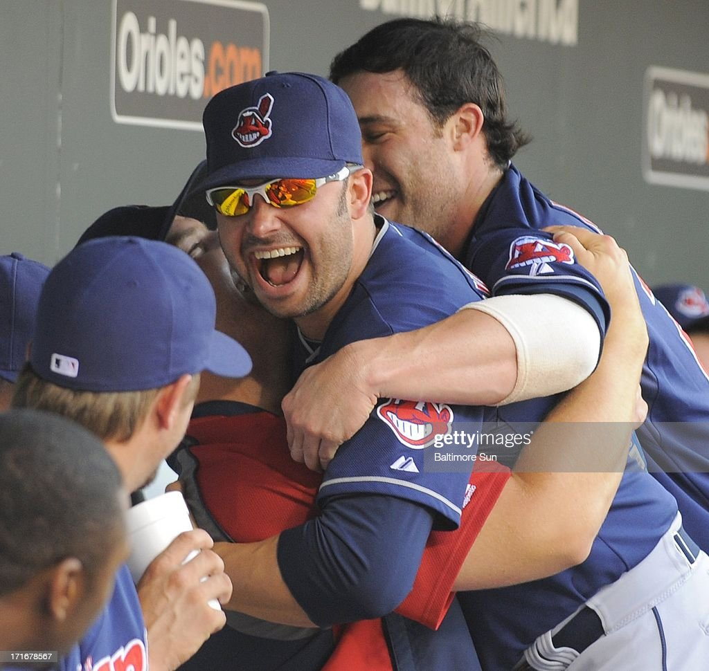 Cleveland Indians' Nick Swisher jokes with teammates before their game with the Baltimore Orioles at Oriole Park at Camden Yards in Baltimore, Maryland, Thursday, June 27, 2013.
