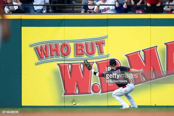 Cleveland Indians Outfield Brandon Guyer plays a ball hit by Houston Astros Left field Nori Aoki off the right field wall during the fifth inning of...